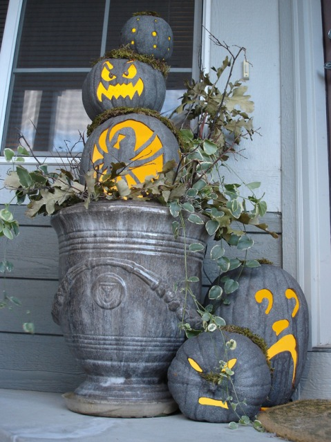 Grey Pumpkins with Vivid Yellow Orange Relief Accents