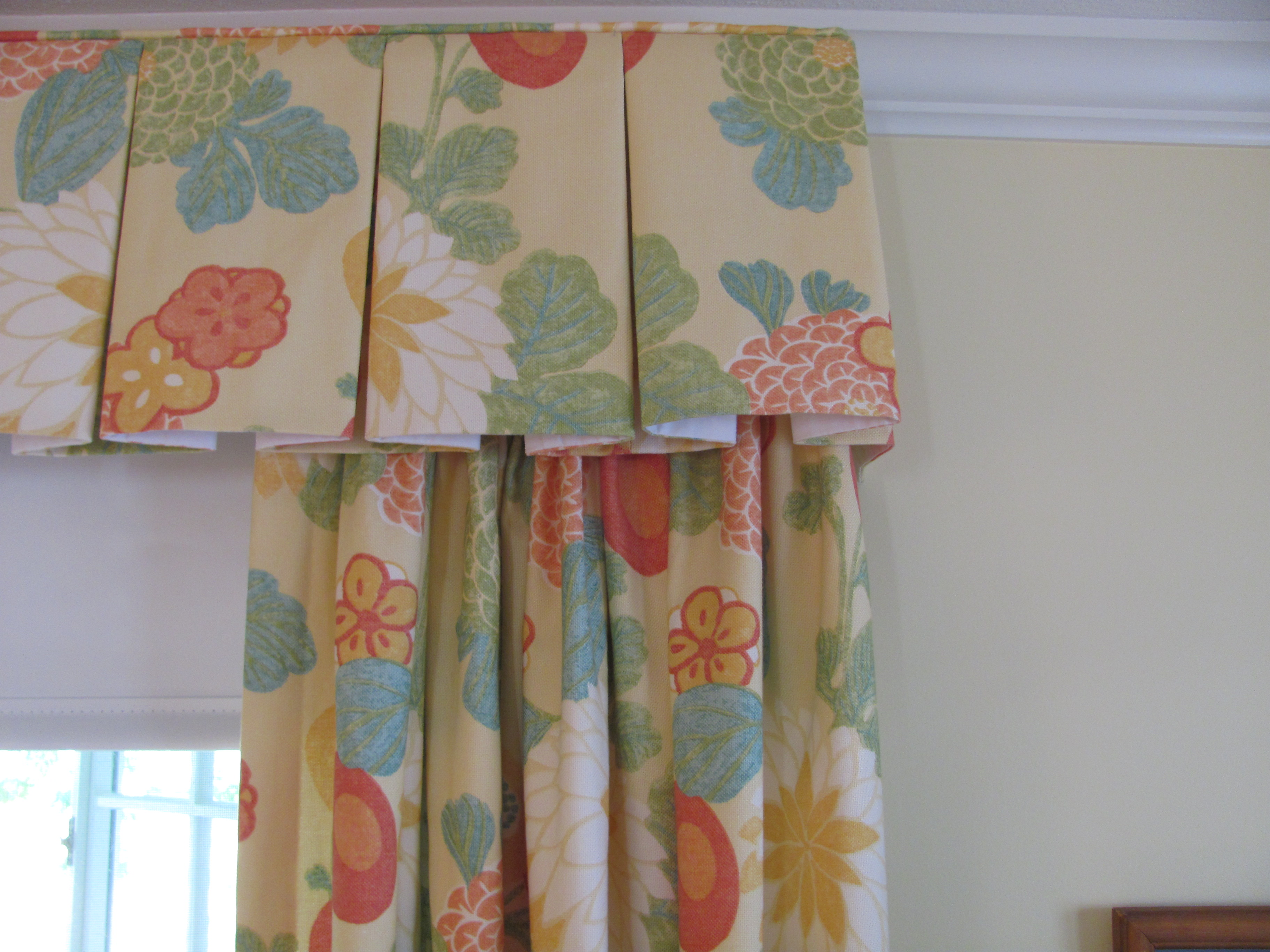 curtains for large dining youll room teal valance living coral colored pleat tailored love valances box cute swags swag windows