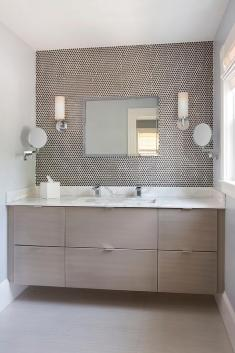 contemporary-taupe-bathroom-floating-washstand-brown-penny-tile-backsplash